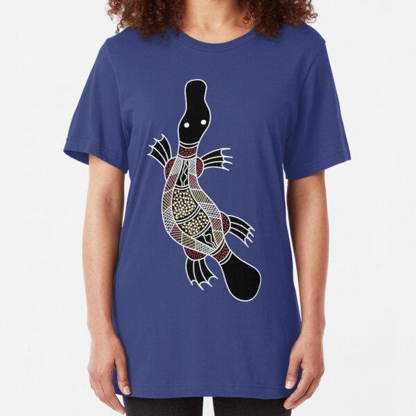 Aboriginal Art - Platypus Slim Fit T-Shirt