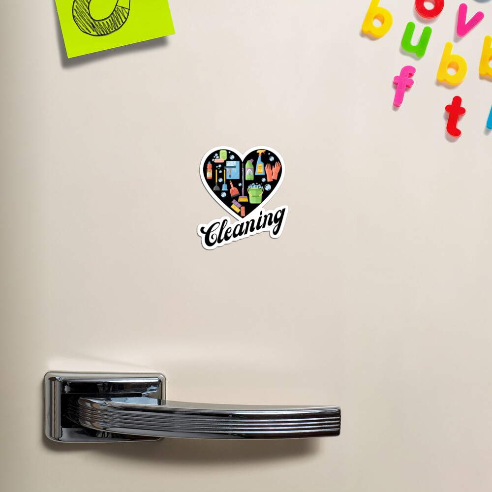 Heart Cleaning, Cleaning Crew Gifts, Motivation Inspiration Graphic Magnet