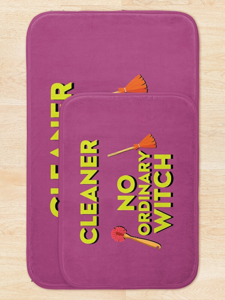 Alternate view of Cleaner No Ordinary Witch House Cleaner Gift Halloween Fun Bath Mat