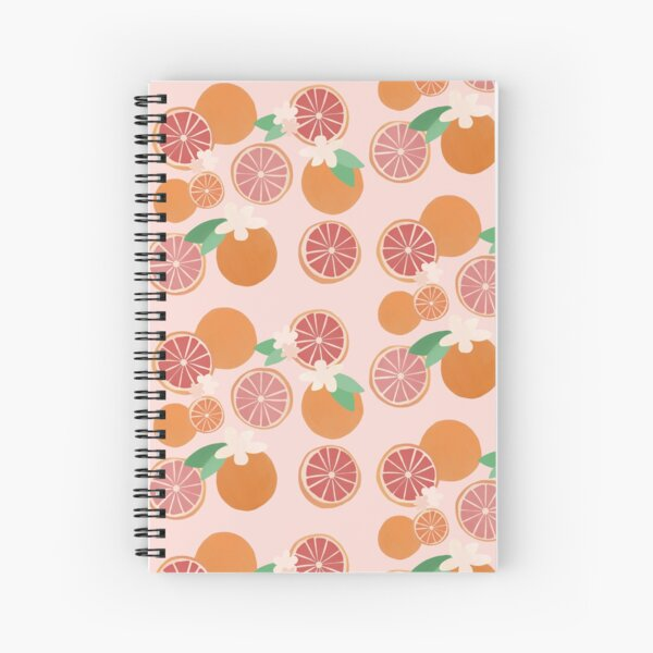 Colorful Citrus Pattern (Pink) Spiral Notebook