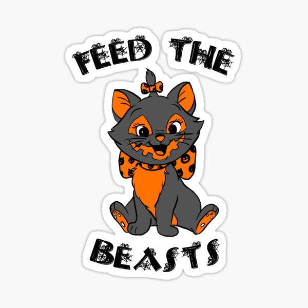 Hallokitty- Feed the Beasts Halloween (Designed by Jonathan Grimm Art) Proceeds Help Rescue Cats! Sticker