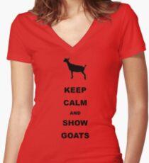 Keep Calm Show Goats Women's Fitted V-Neck T-Shirt