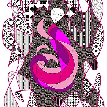 Hidden Passion Woman Pink Hair Abstract Geometric Portrait by beverlyclaire