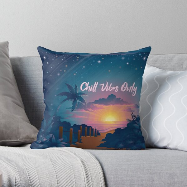 Chill Vibes Only Beach Sunset Throw Pillow