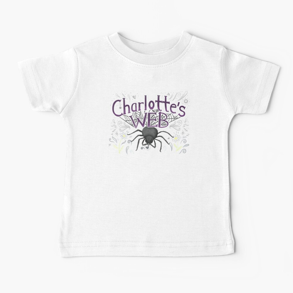 Charlottes web with big black spider Baby T-Shirt