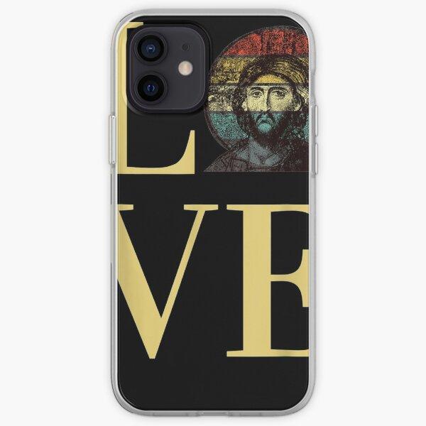 Jesus Christ's Love Byzantine Faith Icon Retro Sunset iPhone Soft Case