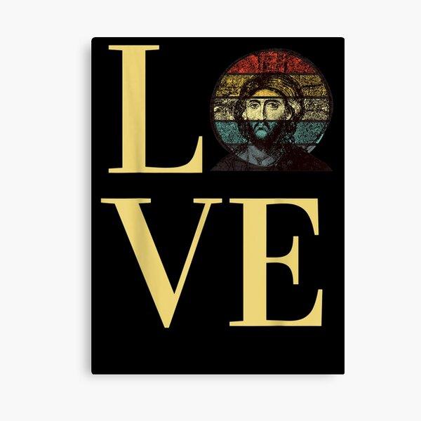 Jesus Christ's Love Byzantine Faith Icon Retro Sunset Canvas Print