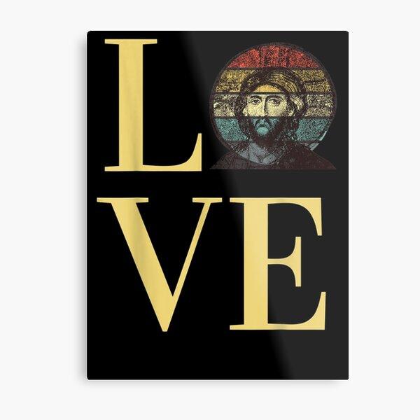 Jesus Christ's Love Byzantine Faith Icon Retro Sunset Metal Print