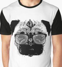 Nerdy Pug Hipster Dog Graphic T-Shirt