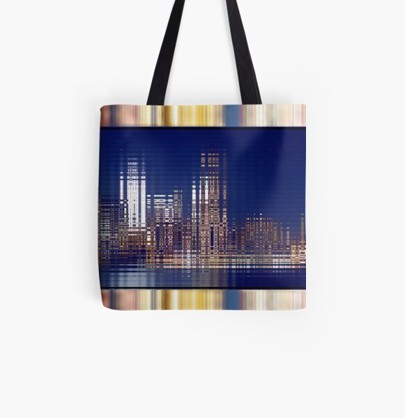Bright Lights of the City NYC Rippling Abstract All Over Print Tote Bag