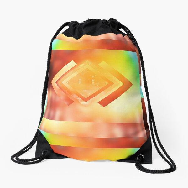 Abstract Geometric Gradient Colors Orange Blue Green Yellow Drawstring Bag