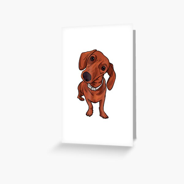 Cute Red Dachshund Sausage Dog Lover Gift Greeting Card