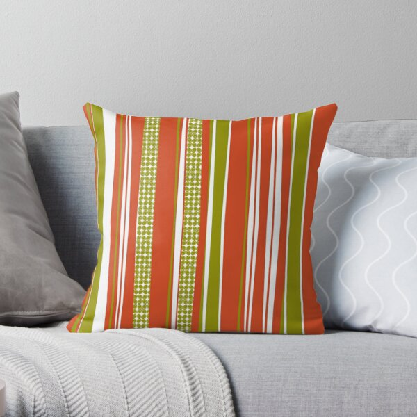 Bark-O Lounge stripes and olives Throw Pillow