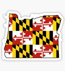 Maryland flag Oregon outline Sticker