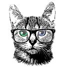 Nerdy Cat Hipster Kitten in Glasses by pencilplus