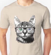 Nerdy Cat Hipster Kitten in Glasses Unisex T-Shirt