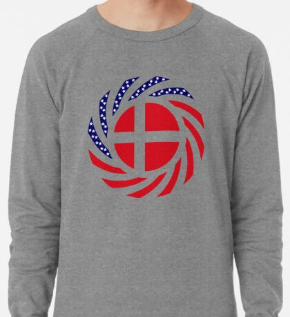 Danish American Multinational Patriot Flag Series Lightweight Sweatshirt
