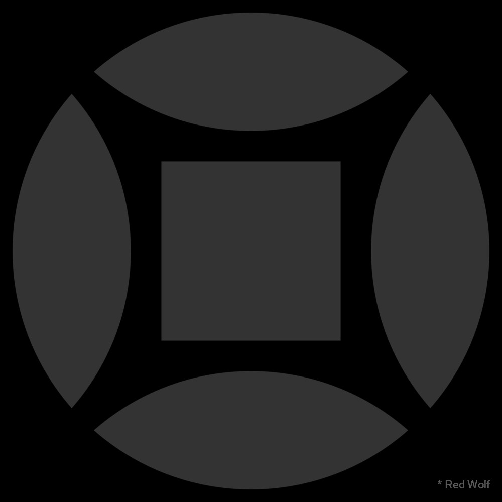 Geometric Pattern: Intersect Square: Black/Charcoal by * Red Wolf