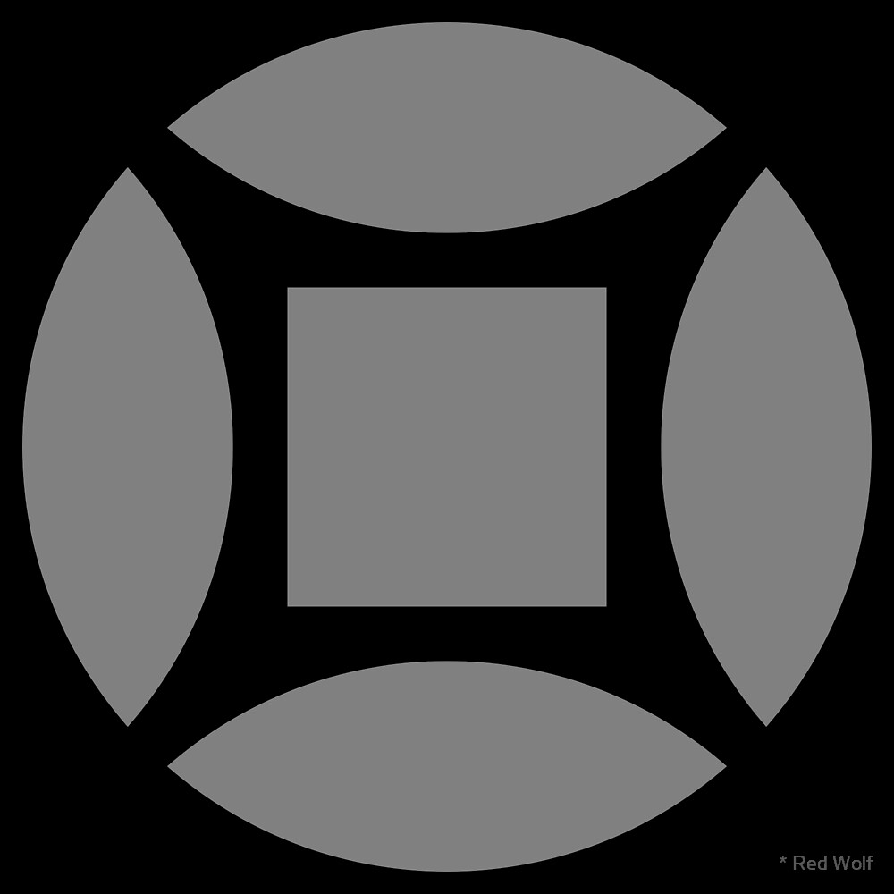 Geometric Pattern: Intersect Square: Black/Battleship by * Red Wolf