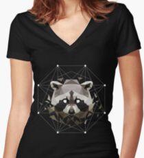Geometric Raccoon Women's Fitted V-Neck T-Shirt