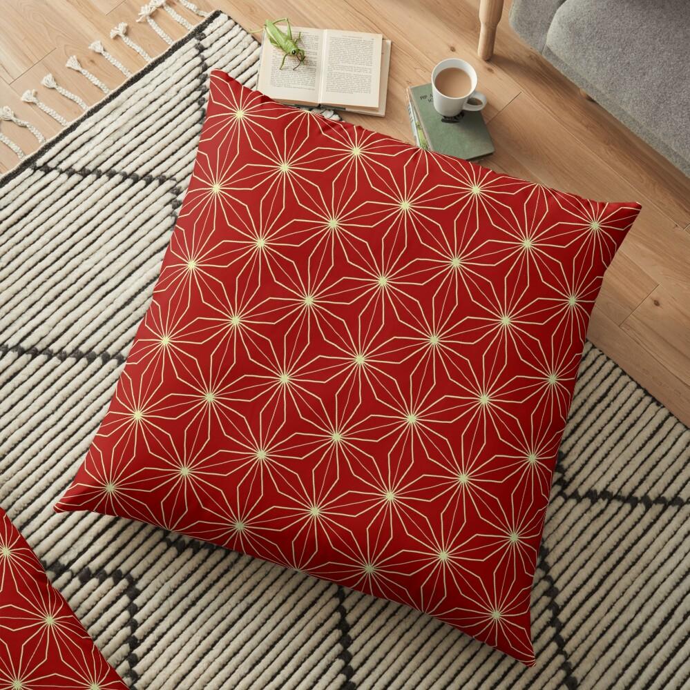 Classic Geometry Red Orange Pattern Design 40 Floor Pillow
