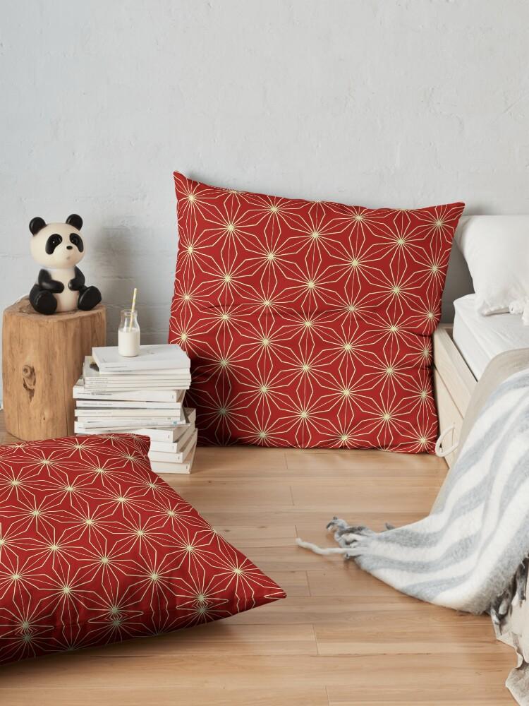 Alternate view of Classic Geometry Red Orange Pattern Design 40 Floor Pillow