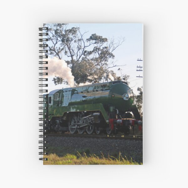 3801 Australian Steam Train being tested along Piction to Goulburn line Spiral Notebook