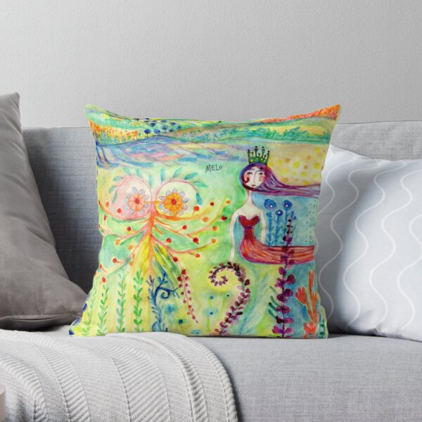 Colorful Mermaid Princess, Flowers Floral Curly Water Abstract Landscape Throw Pillow