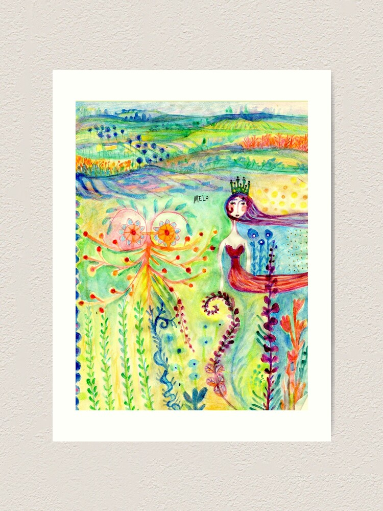 Alternate view of Colorful Mermaid Princess, Flowers Floral Curly Water Abstract Landscape Art Print