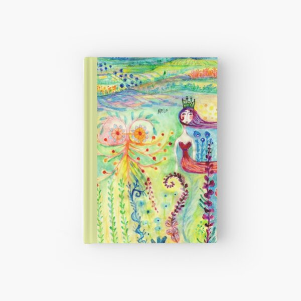 Colorful Mermaid Princess, Flowers Floral Curly Water Abstract Landscape Hardcover Journal