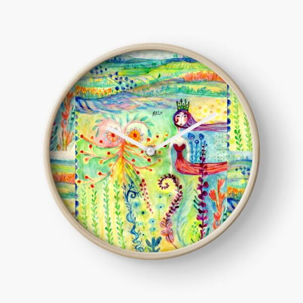 Colorful Mermaid Princess, Flowers Floral Curly Water Abstract Landscape Clock