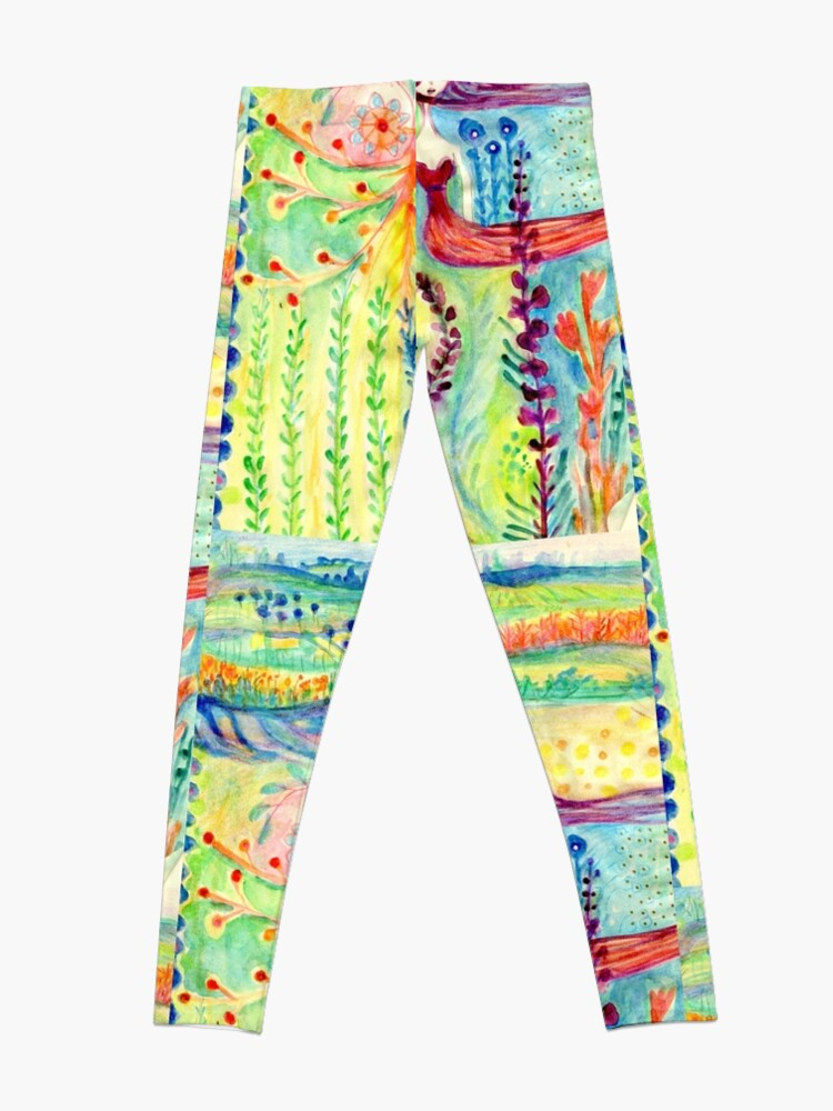 Alternate view of Colorful Mermaid Princess, Flowers Floral Curly Water Abstract Landscape Leggings