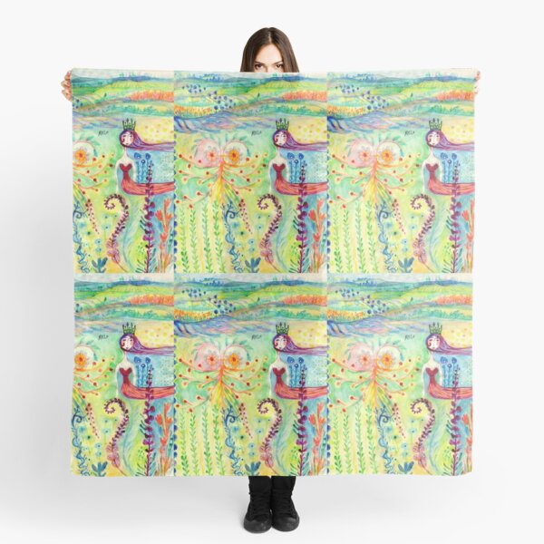 Colorful Mermaid Princess, Flowers Floral Curly Water Abstract Landscape Scarf