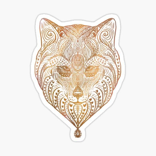 Gold wolf mandala  Sticker