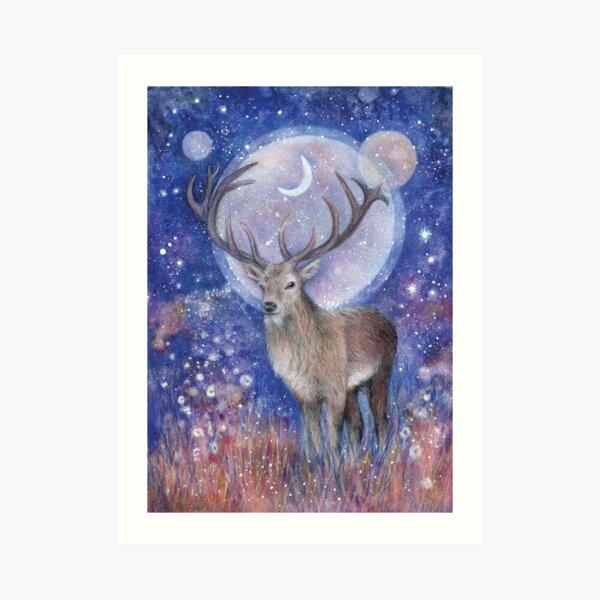 Red deer spirit Art Print