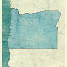 Oregon Map Blue Vintage by HubertRoguski