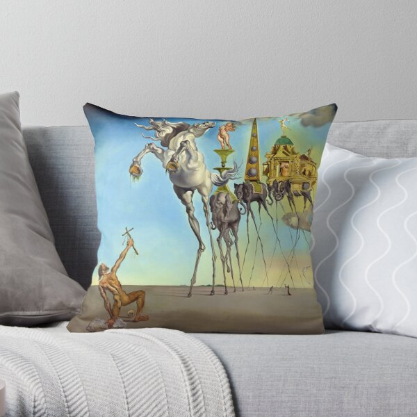 The Temptation of St. Anthony (HD) Throw Pillow