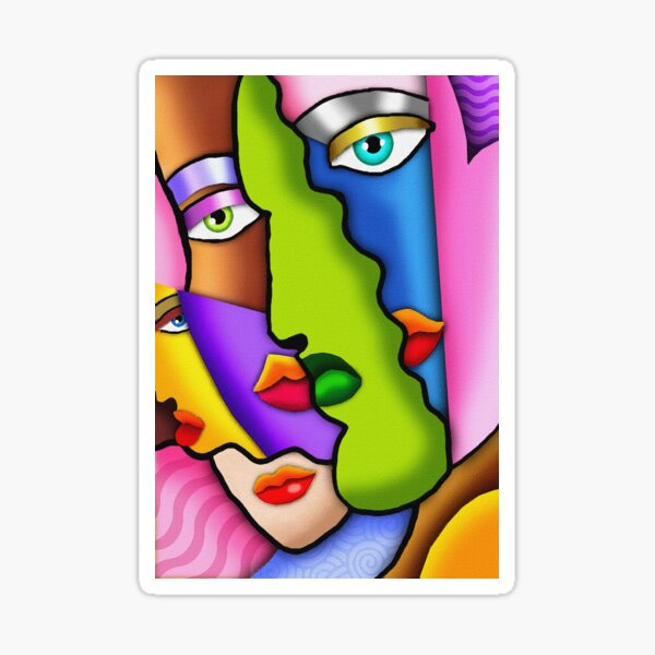 French Cubism art style - 'Faces' Sticker