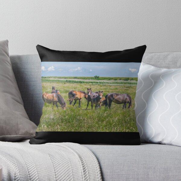 Wild horses enjoying Danish summer Throw Pillow