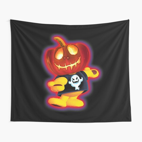 Halloween Pumpkin Ted Wall Tapestry by OrganicBeej Tapestry