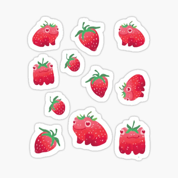 Strawberry frogs repeating pattern  Sticker