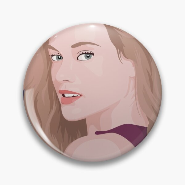 Beautiful lady with long hair portrait illustration Pin