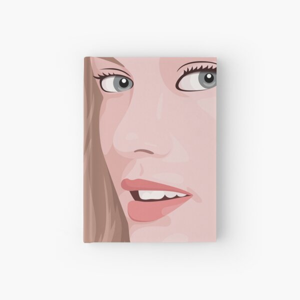Beautiful lady with long hair portrait illustration Hardcover Journal