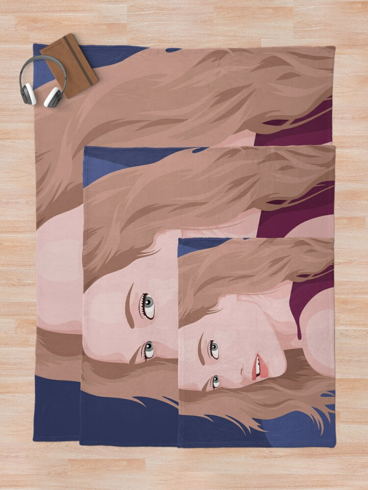 Alternate view of Beautiful lady with long hair portrait illustration Throw Blanket