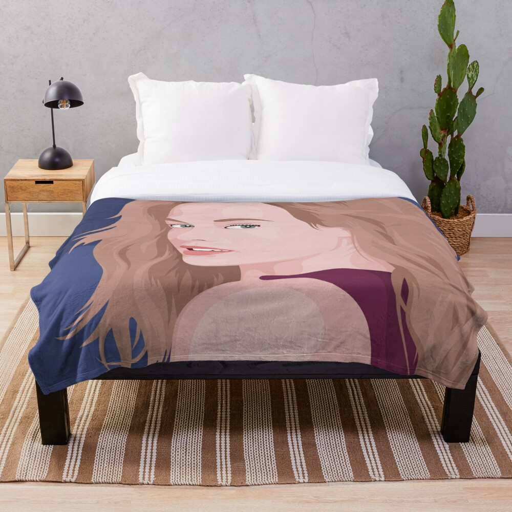 Beautiful lady with long hair portrait illustration Throw Blanket