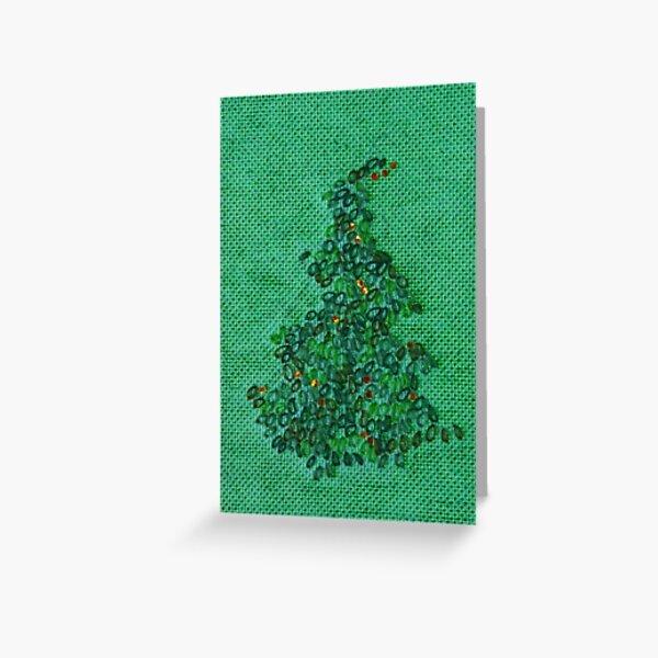 Merry Green Christmas Tree Greeting Card
