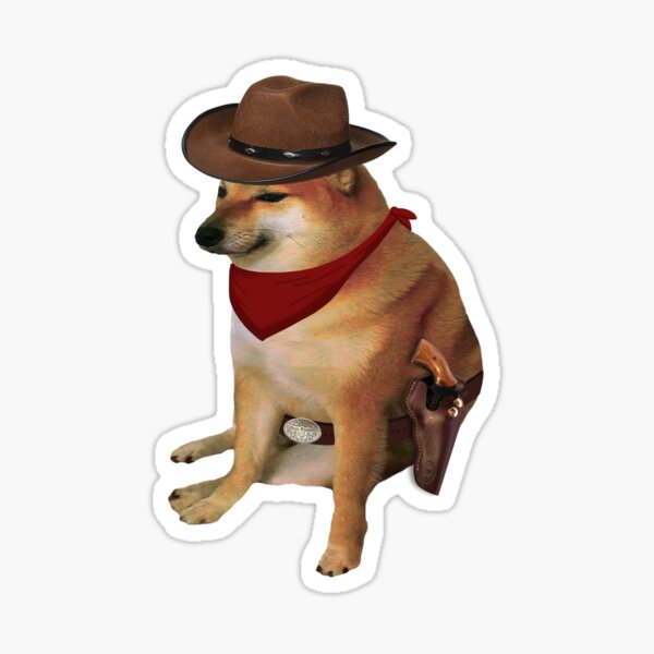 Vaquero Cheems Doge Pegatina