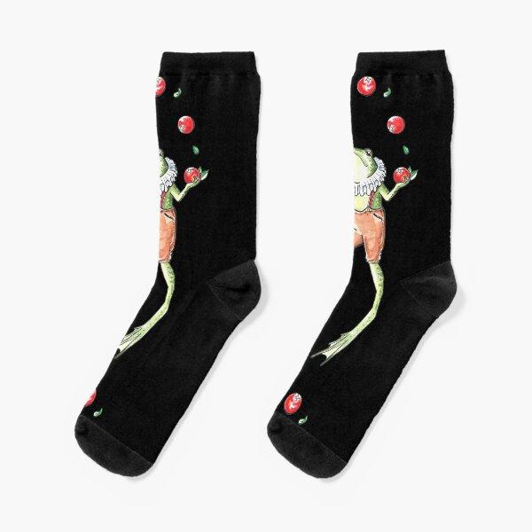 Cranberry Juggling Frog Socks