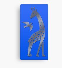 Giraffe and bird - perforated sheet design Canvas Print
