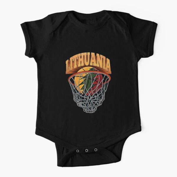 Lithuania Basketball Skeleton Net Short Sleeve Baby One-Piece